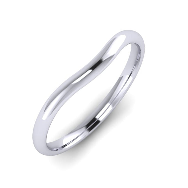 Platinum Slight Curve Wedding Ring