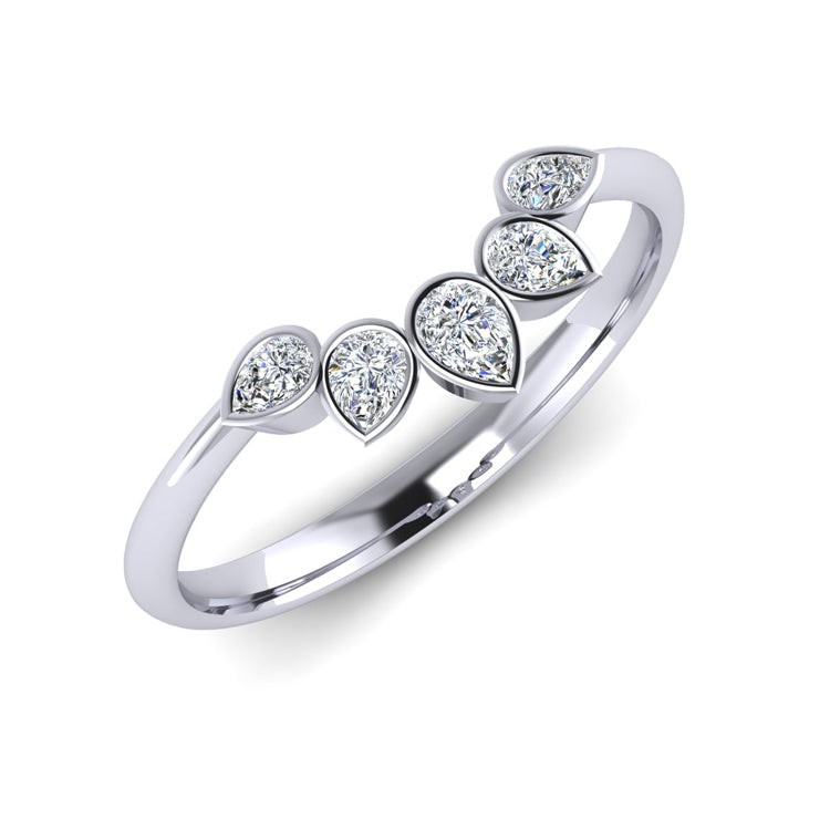 "Platinum ""Sunflower"" Fitted Ladies Diamond Wedding Ring"