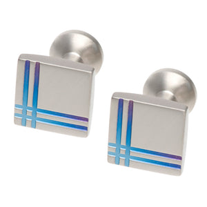 Square Titanium Cufflinks with dual line detail
