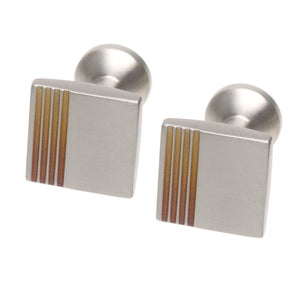 Square Titanium Cufflinks with Striped Detail