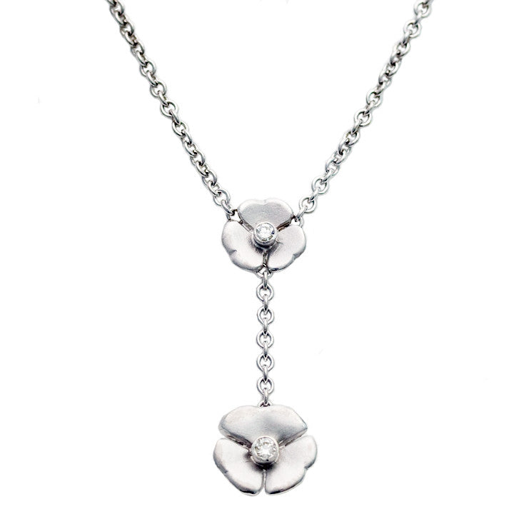 9ct White Gold Mariposa Necklet with Two Fine Diamonds