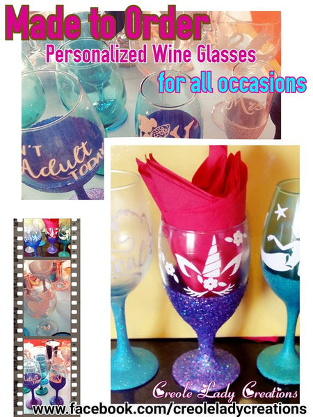 Custom Wine Glasses - Little Bug Craftz