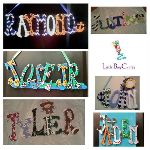 Theme Name Wall Hanging (3 Letters) - Little Bug Craftz