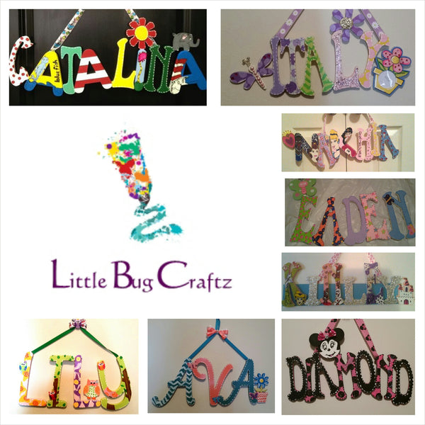 Theme Name Wall Hanging (4 Letters) - Little Bug Craftz