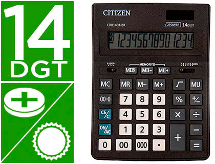 Calculadora Citizen  Business Line Eco Eficiente Solar Y Pilas 14 Digitos 200X157X35 Mm