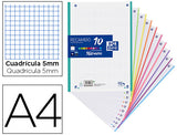 Recambio Color Oxford Din A4 90 Gr Cuadro 5 Mm 4 Taladros Banda Colores