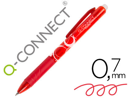Boligrafo Q-Connect Retractil Borrable 0,7 Mm Rojo