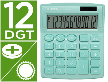 Calculadora Citizen  Sdc-812Nrgne Eco Eficiente Solar Y A Pilas 12 Digitos 124X102X25 Mm Verde