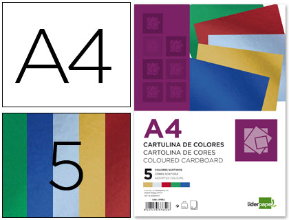 Cartulina A4 235 Gr Metalizada 5 Colores Surtidos