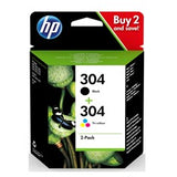 PACK 2 CARTUCHO TINTA HP 304 NEGRO Y COLOR 3720 -  3721 -  3722 -  3750 -  5030