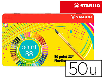Rotulador Stabilo Point 88 Estuche Metal 50 Colores