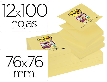 Bloc notas Adhesivas Quita y Pon Post It Super Sticky 76X76 Mm Zigzag