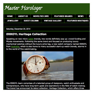 MASTER HOROLOGER: ERROYL Heritage Collection