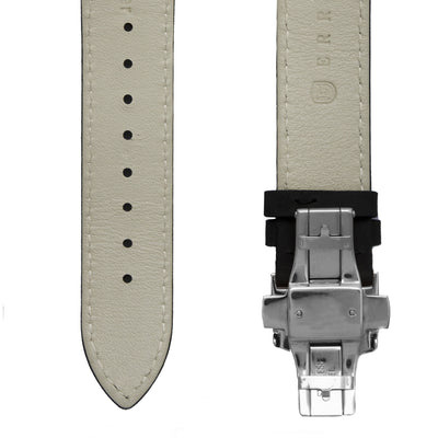 Black Italian Crazy Horse Leather Strap with Stainless Steel Clasp
