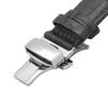Black Alligator Grain Leather Strap with Stainless Steel Clasp