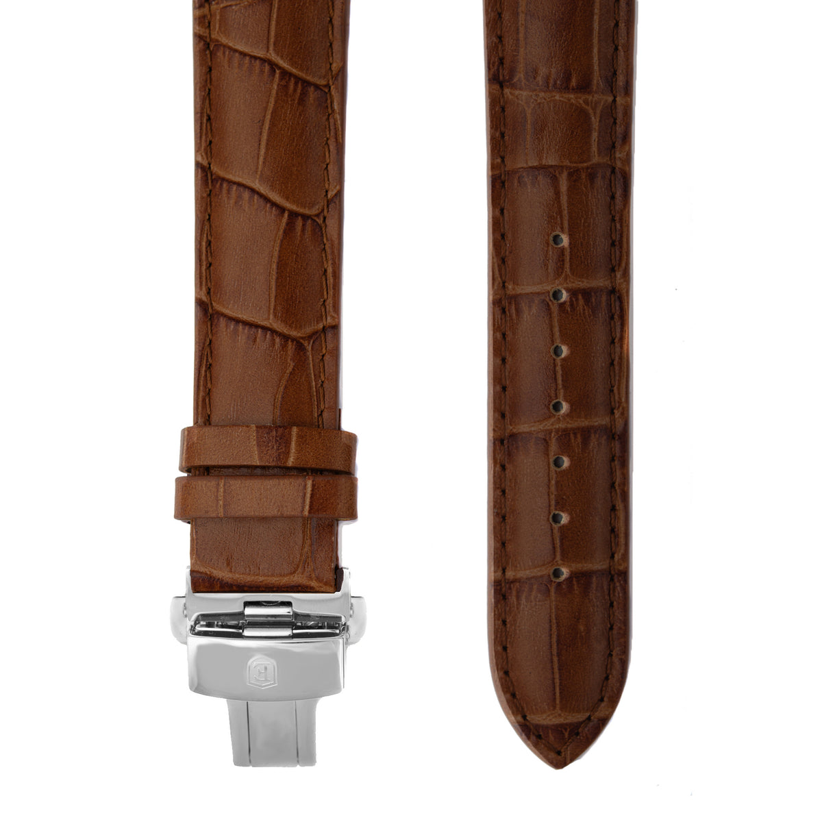 Brown Alligator Grain Leather Strap with Stainless Steel Clasp
