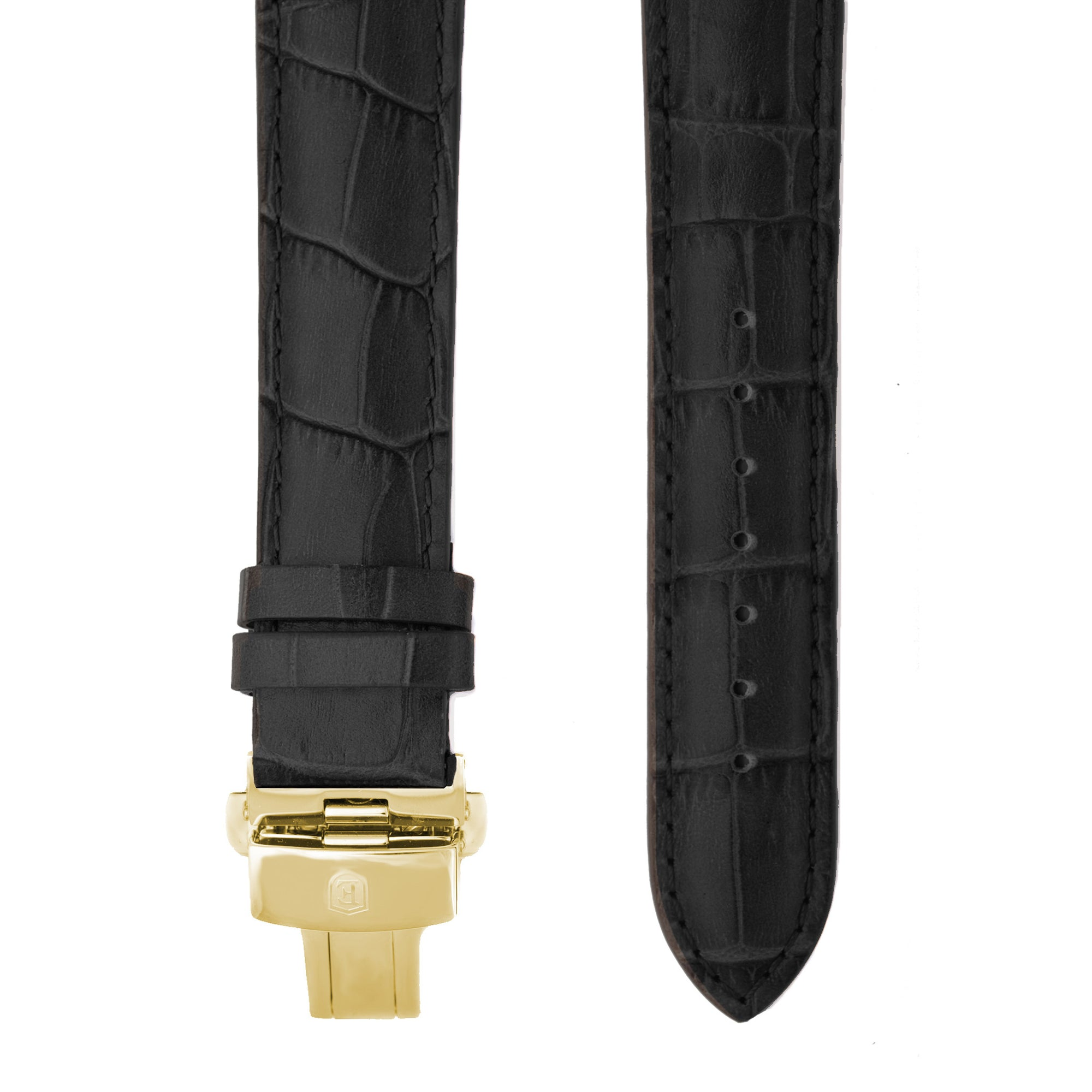 Black Alligator Grain Leather Strap with Gold Clasp