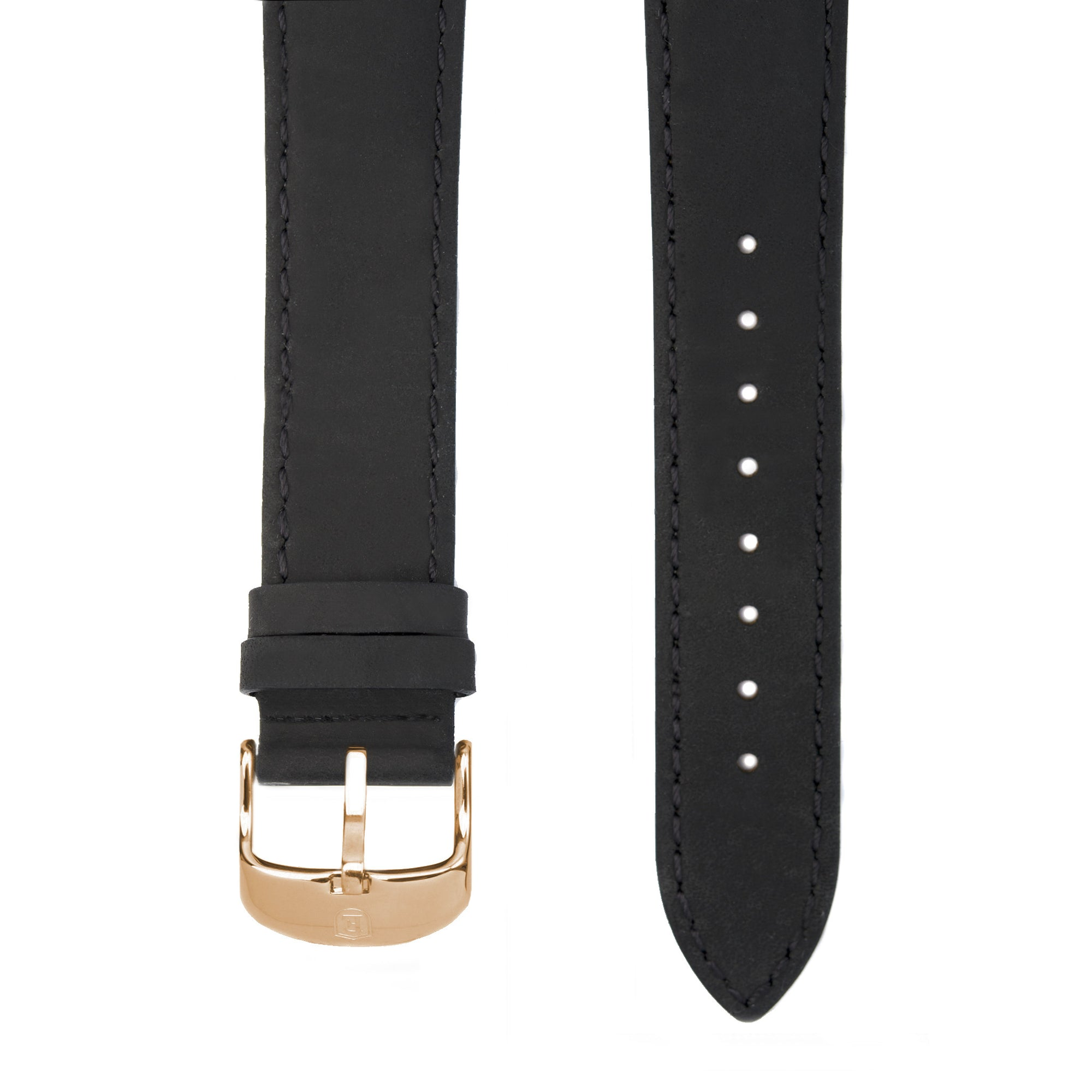 Black Italian Crazy Horse Leather Strap with Rose Gold Pin Buckle