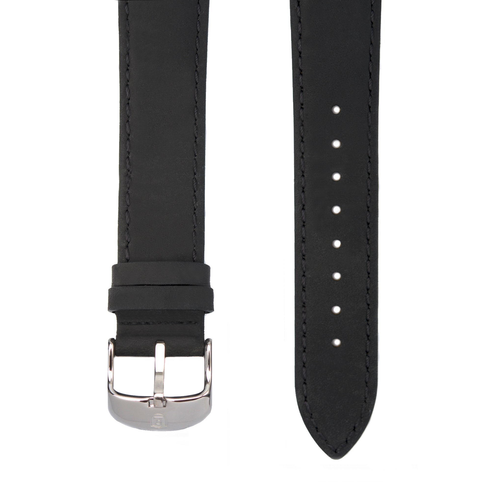 Black Italian Crazy Horse Leather Strap with Stainless Steel Pin Buckle