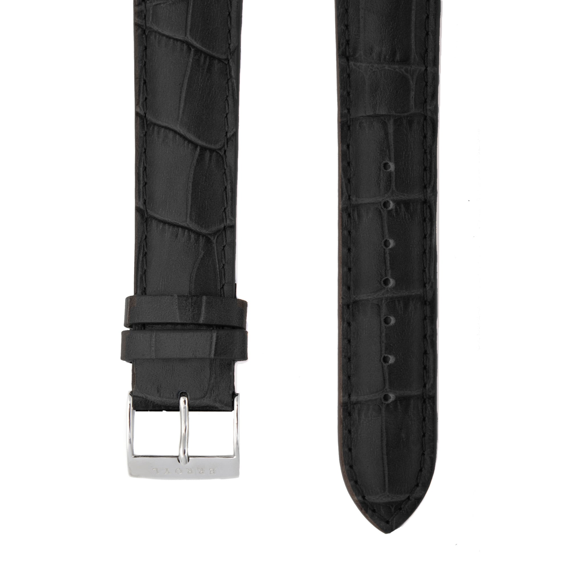 Black Alligator Grain Leather Strap with Stainless Steel Pin Buckle