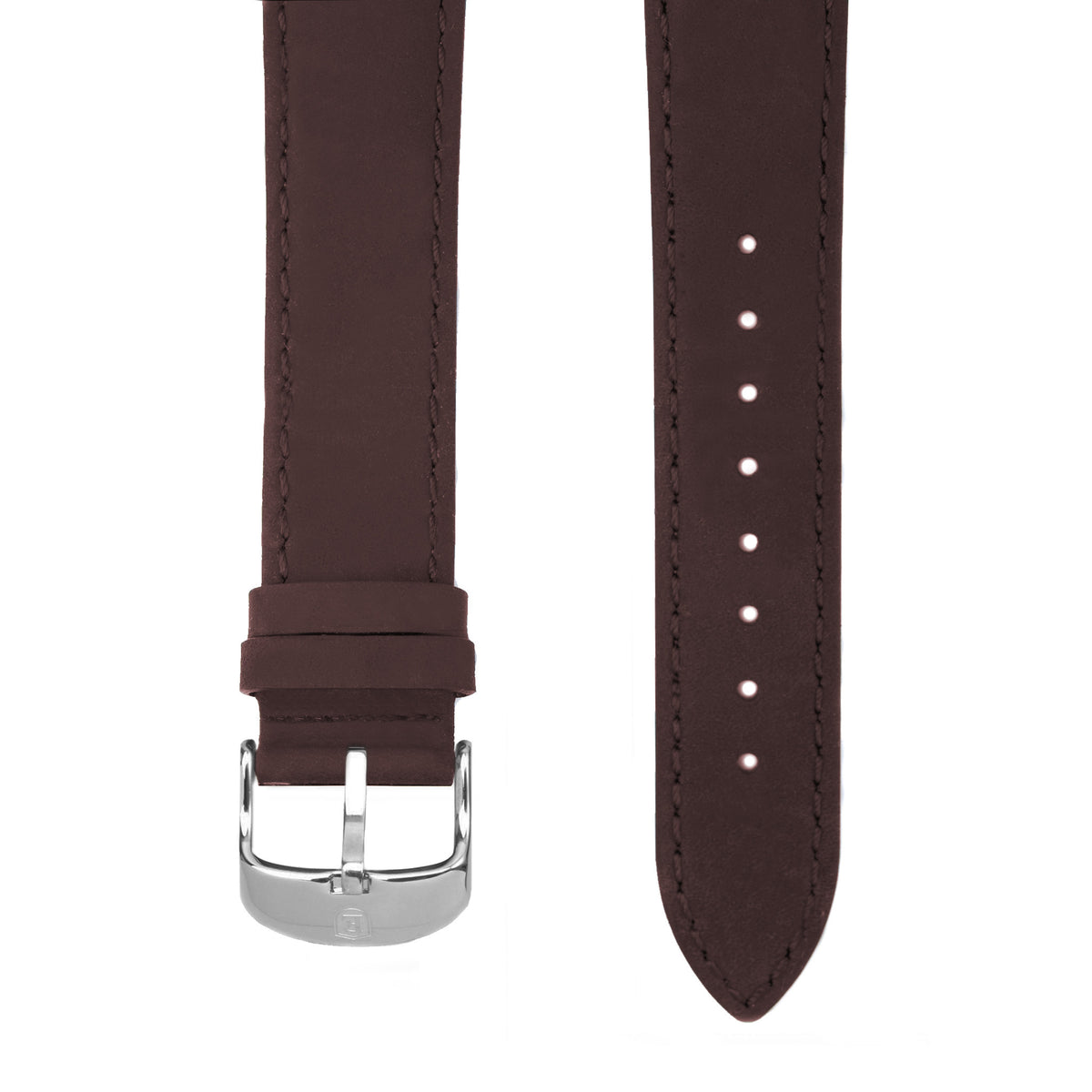 Dark Brown Italian Crazy Horse Leather Strap with Stainless Steel Pin Buckle