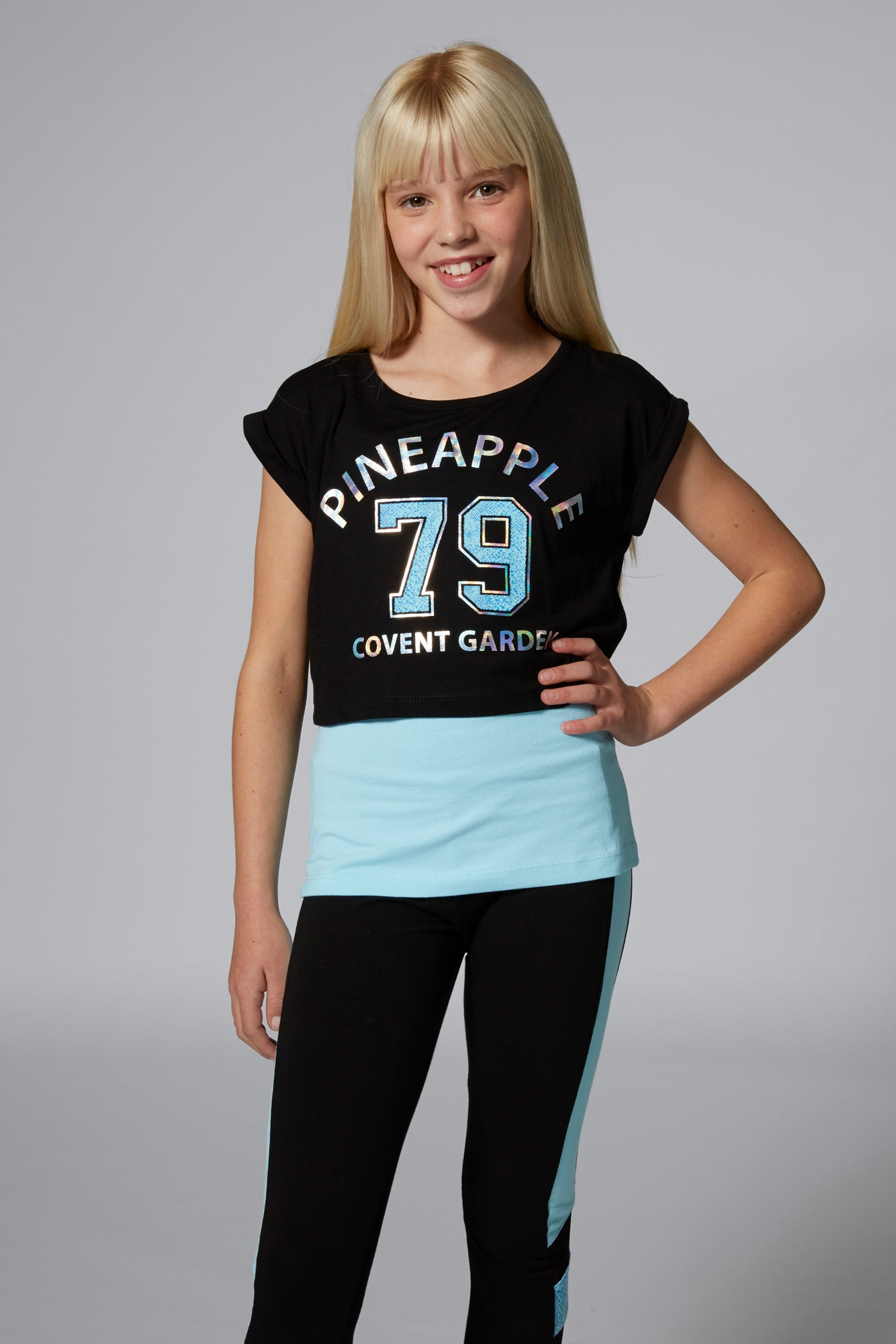 Pineapple Dancewear Girls' Blue 79 Dbl Layer T-Shirt