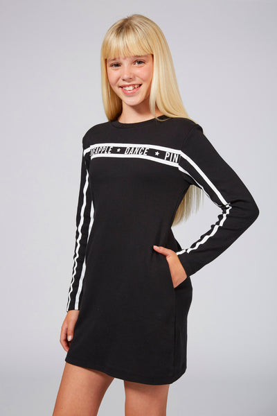 Pineapple Girls' Long Sleeve Black Dress with Stripes and Print