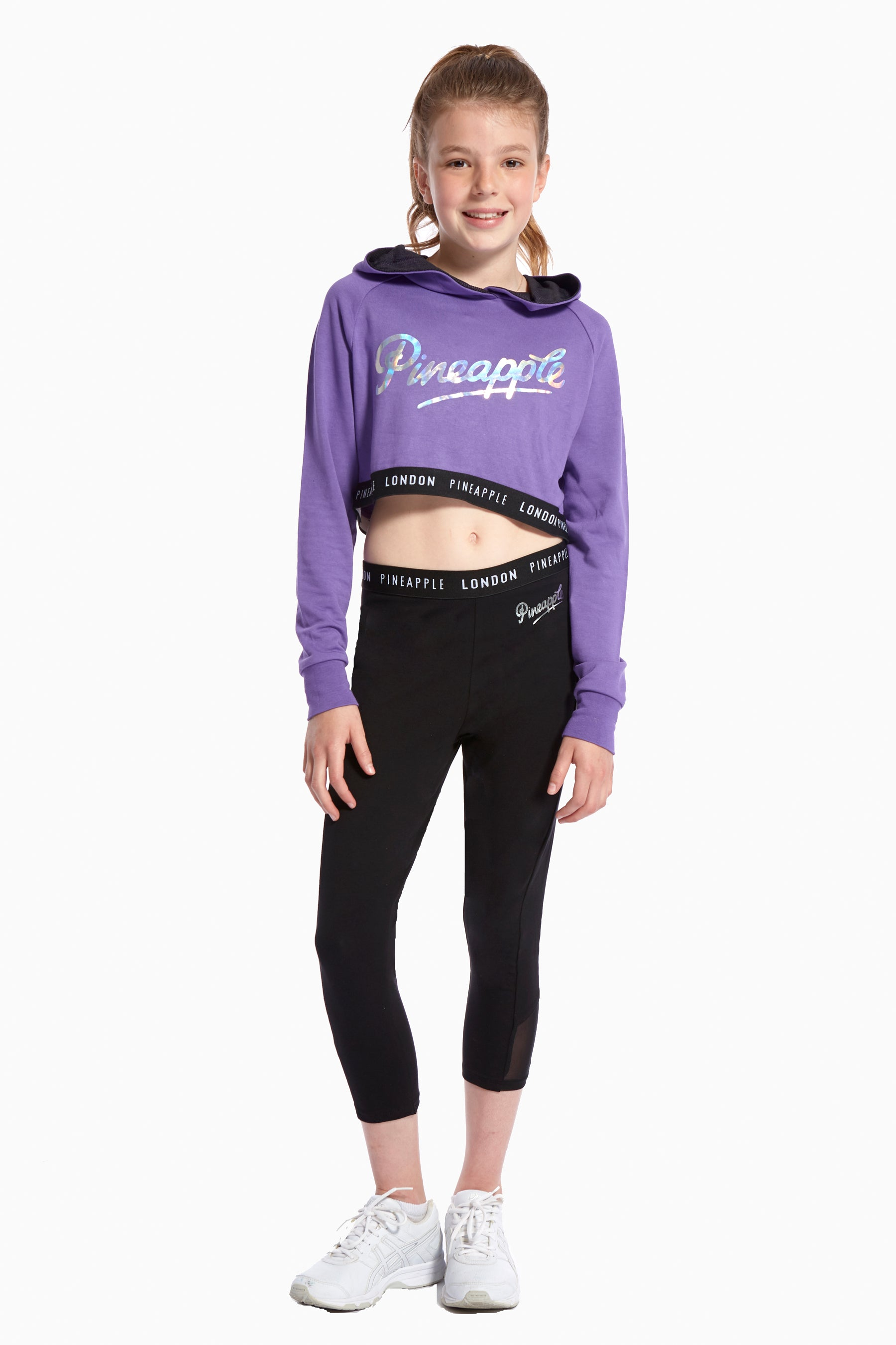 Pineapple Dancewear Girls' Pink Jacquard Crop Hoodie