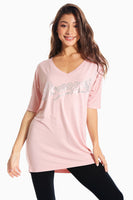 Pineapple Dancewear Women's Pink V Neck T-Shirt
