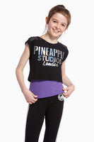 Pineapple Dancewear Girls' Pink Mesh Panel Double Layer Top