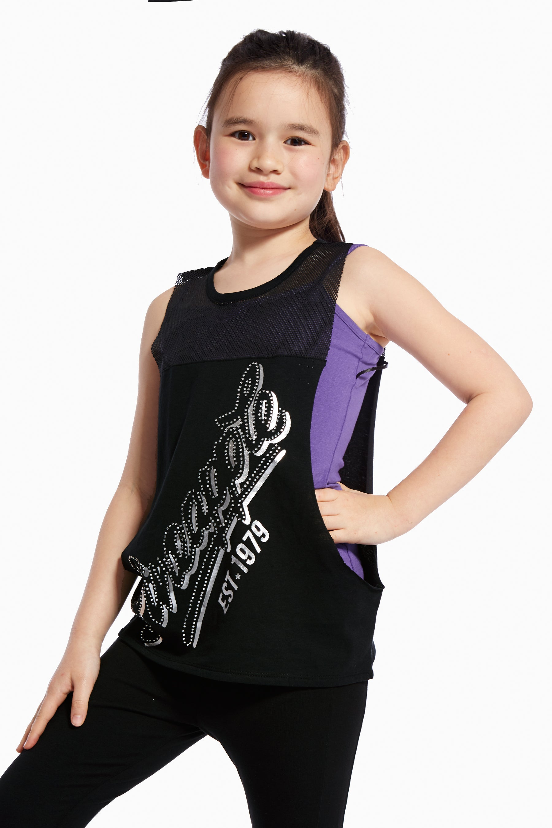 Pineapple Dancewear Girls' Pink Stud Retro Double Layer Vest