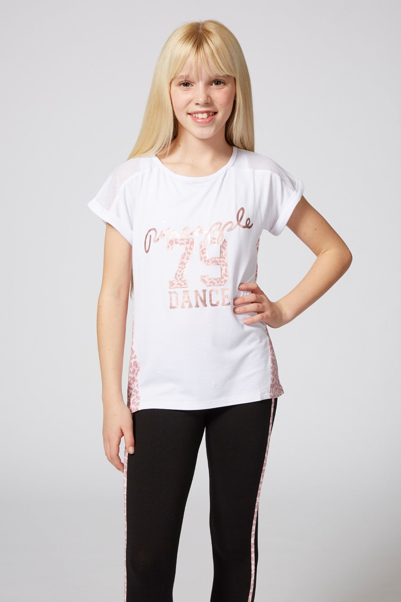 Pineapple Dancewear Girls' White Animal Print Panel T-Shirt