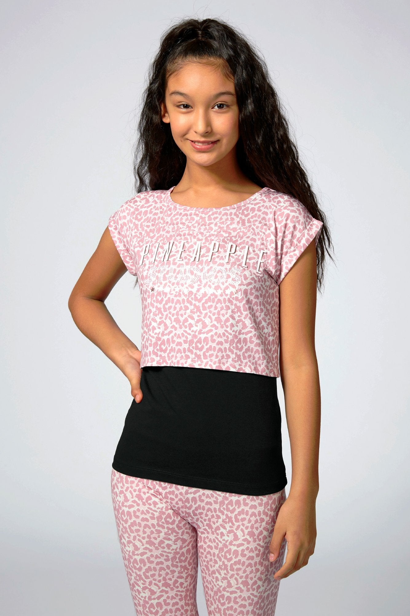 Pineapple Dancewear Girls' Pink Studios Animal Print Double T-Shirt