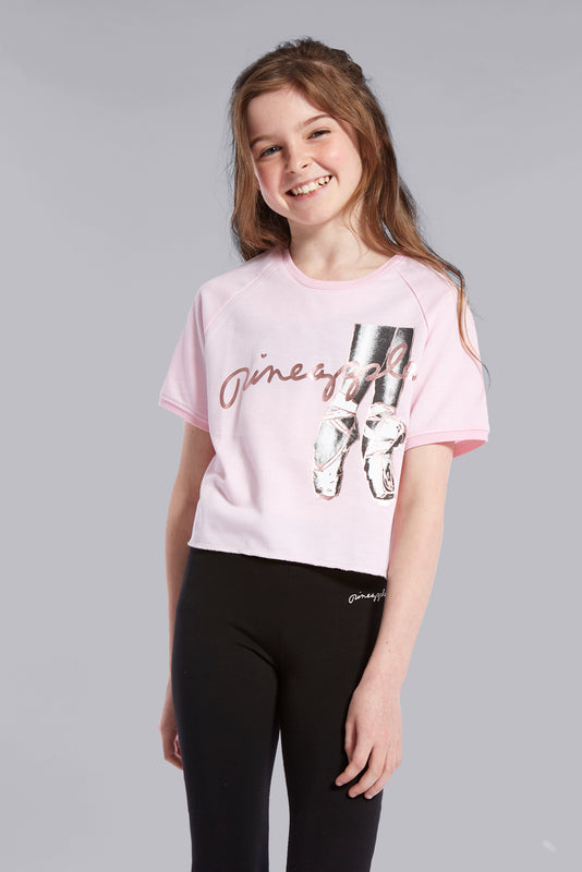 Pineapple Dancewear Girls' Pink Ballet Slouchy T-Shirt