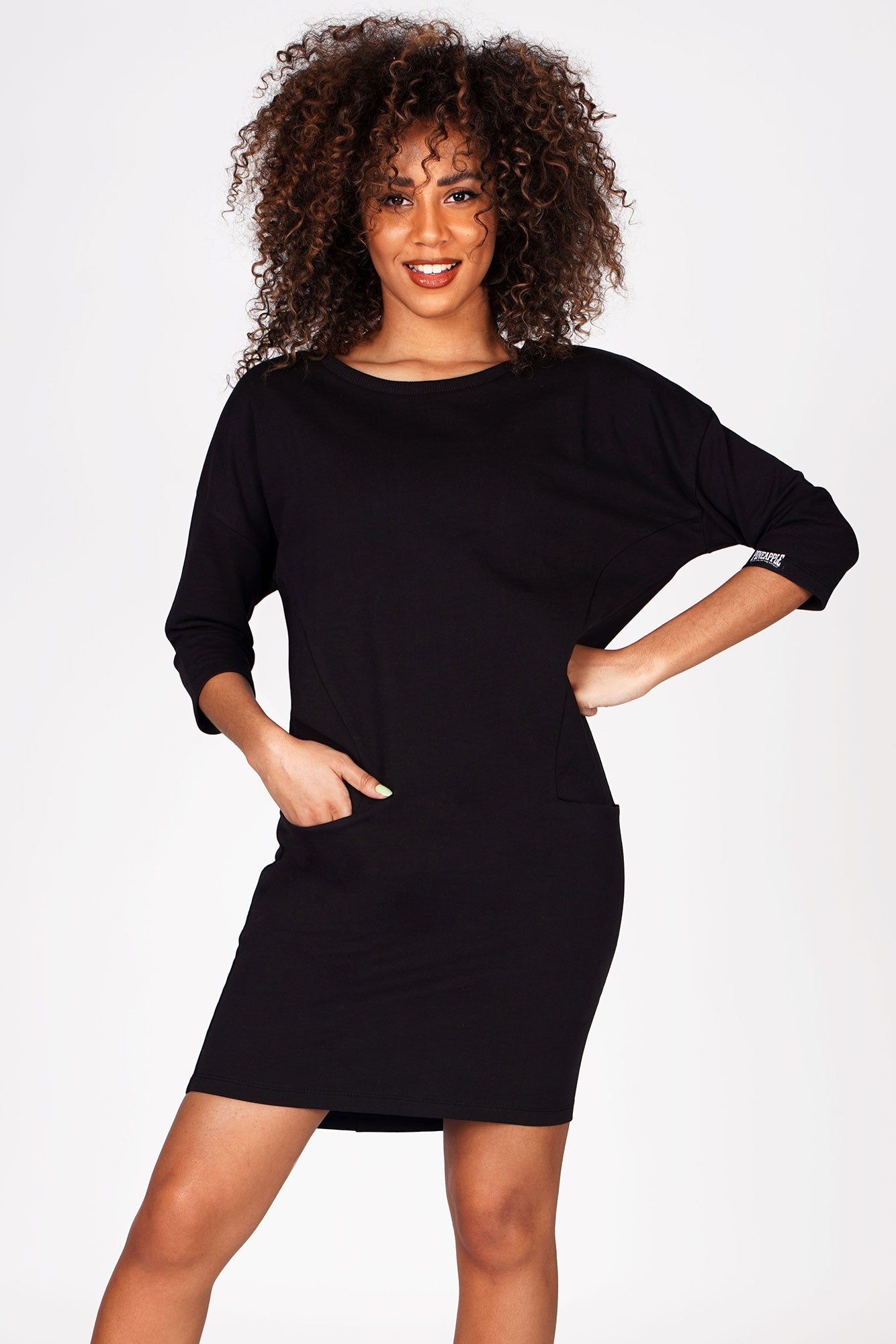 Woman wearing Pineapple Black Loopback Pocket Dress