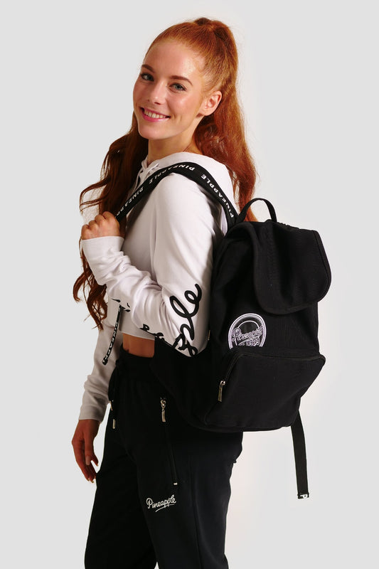 Pineapple Dance Black Canvas Backpack