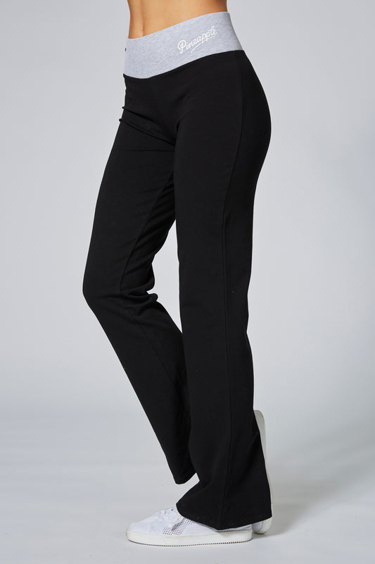 Pineapple Womens Black Contrast Band Bootcut Jersey Trousers PT17160A1