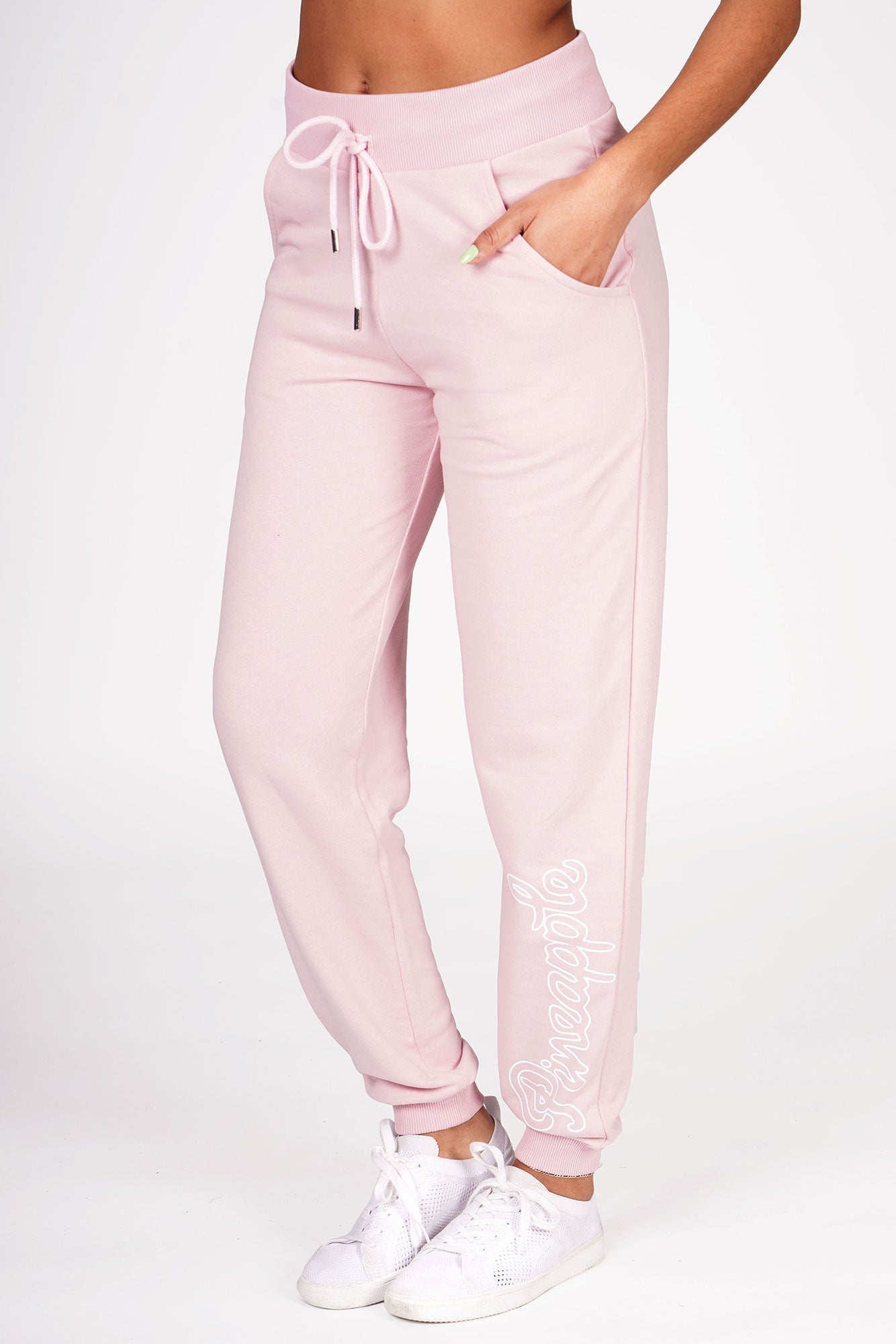 Woman wearing Pineapple Coral Loopback Joggers