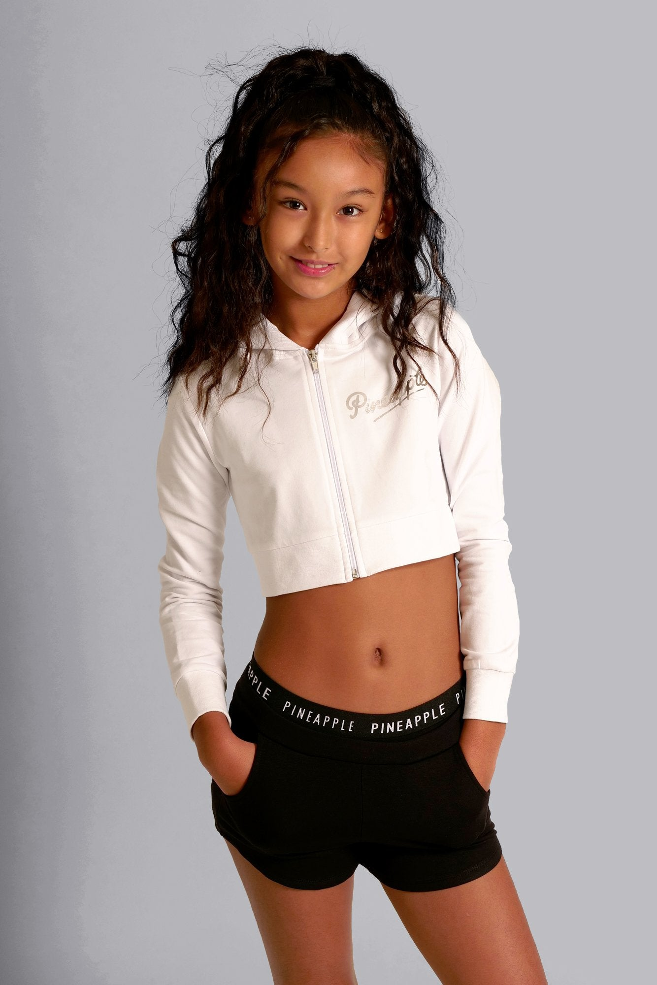 Pineapple Dancewear Girls' White Crop Diamante Zip Jacket TH15140