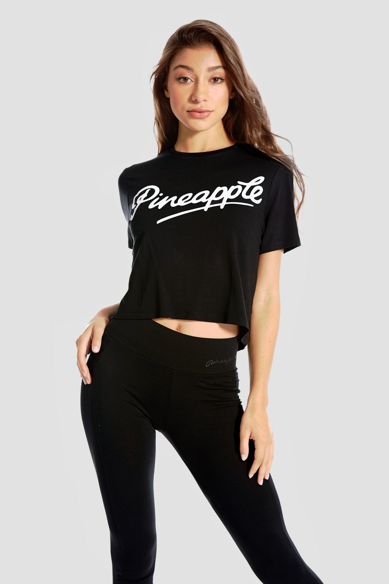 Pineapple Dancewear Women's Black Crop T Shirt