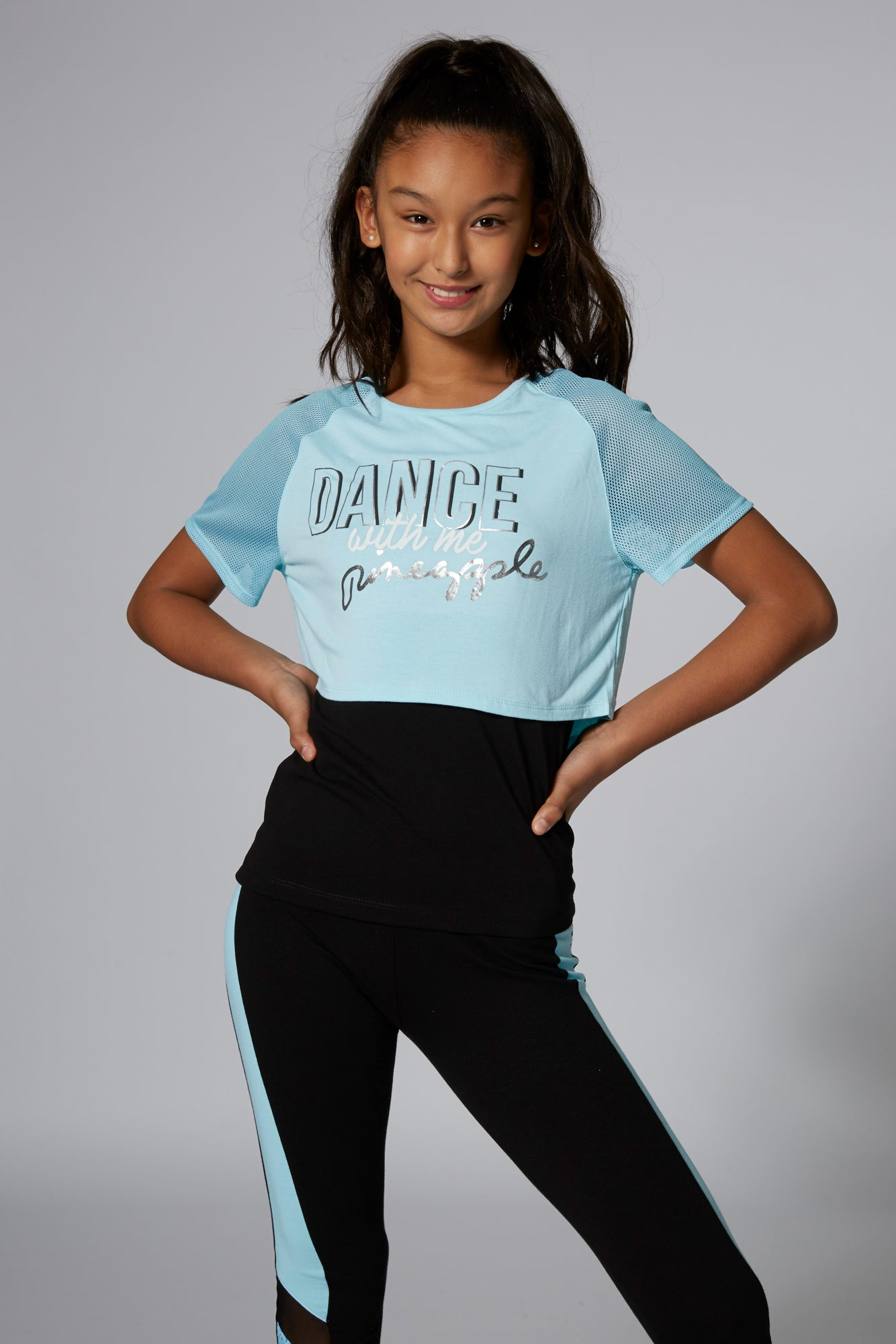 Pineapple Dancewear Girls' Blue 'Dance' Double Layer T-Shirt