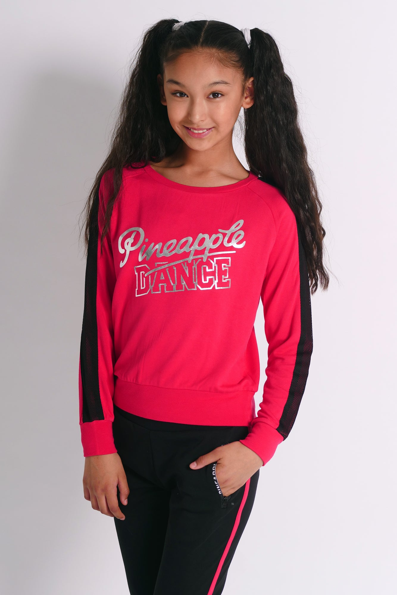 Pineapple Dancewear Girls' Red Dance Mesh Stripe Jumper