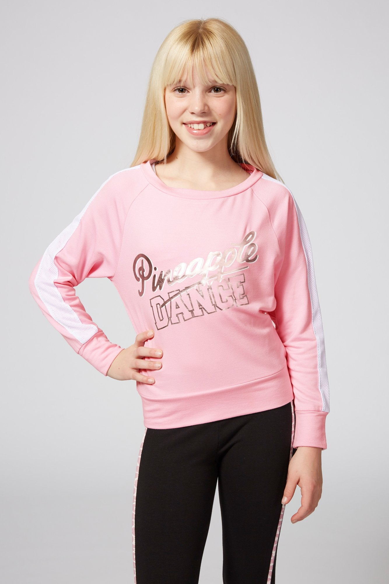 Pineapple Dancewear Girls' Pink Dance Mesh Stripe Jumper