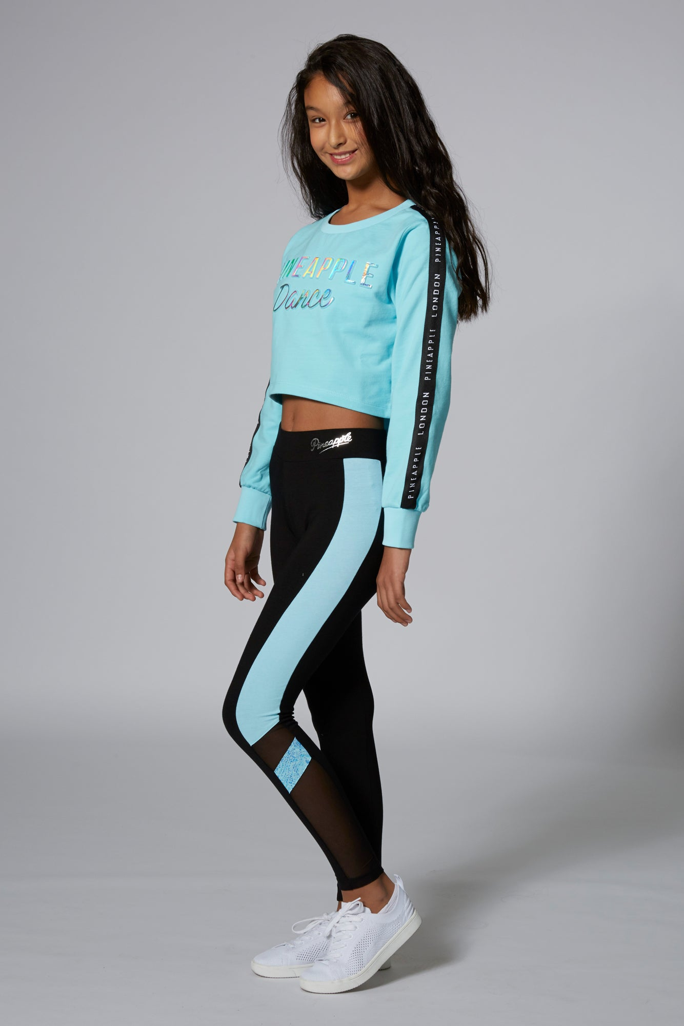 Pineapple Dancewear Girls' Blue Embossed Crop Jumper