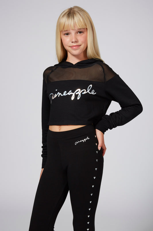 Pineapple Black Mesh Panel Crop Hoodie TH1546CA1