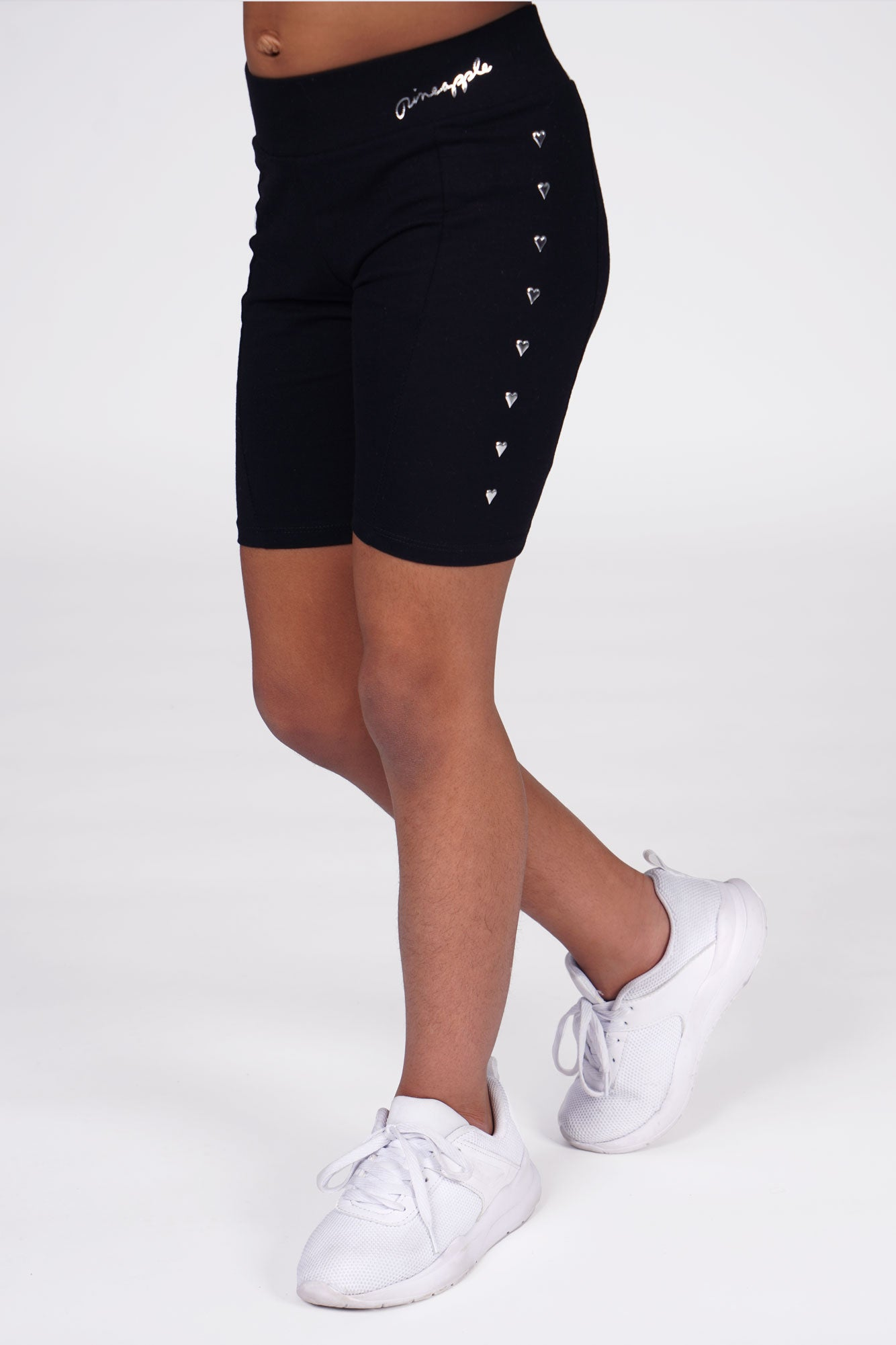 Girl wearing Pineapple Heart Stud Black Cycling Shorts