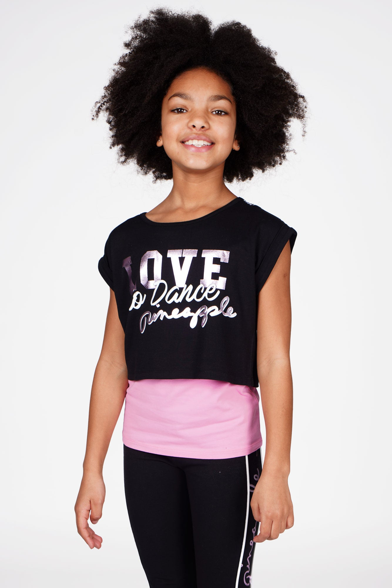 Girl wearing Pineapple Double Layer Black and Pink Crop Top and Vest Set, cropped front view