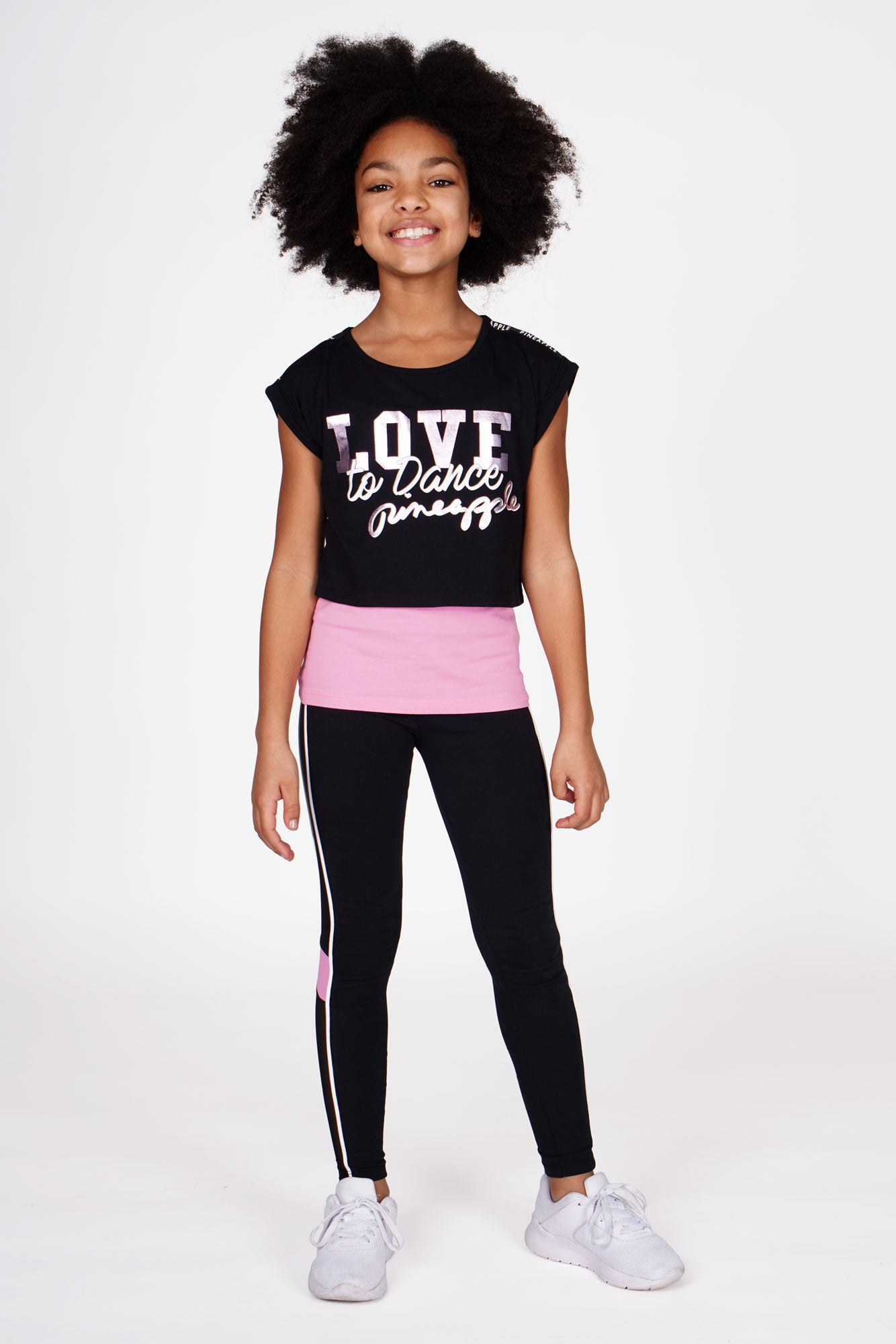Girl wearing Double Layer Black and Pink Crop Top and Vest Set with Mesh Panel Black Leggings, full front view