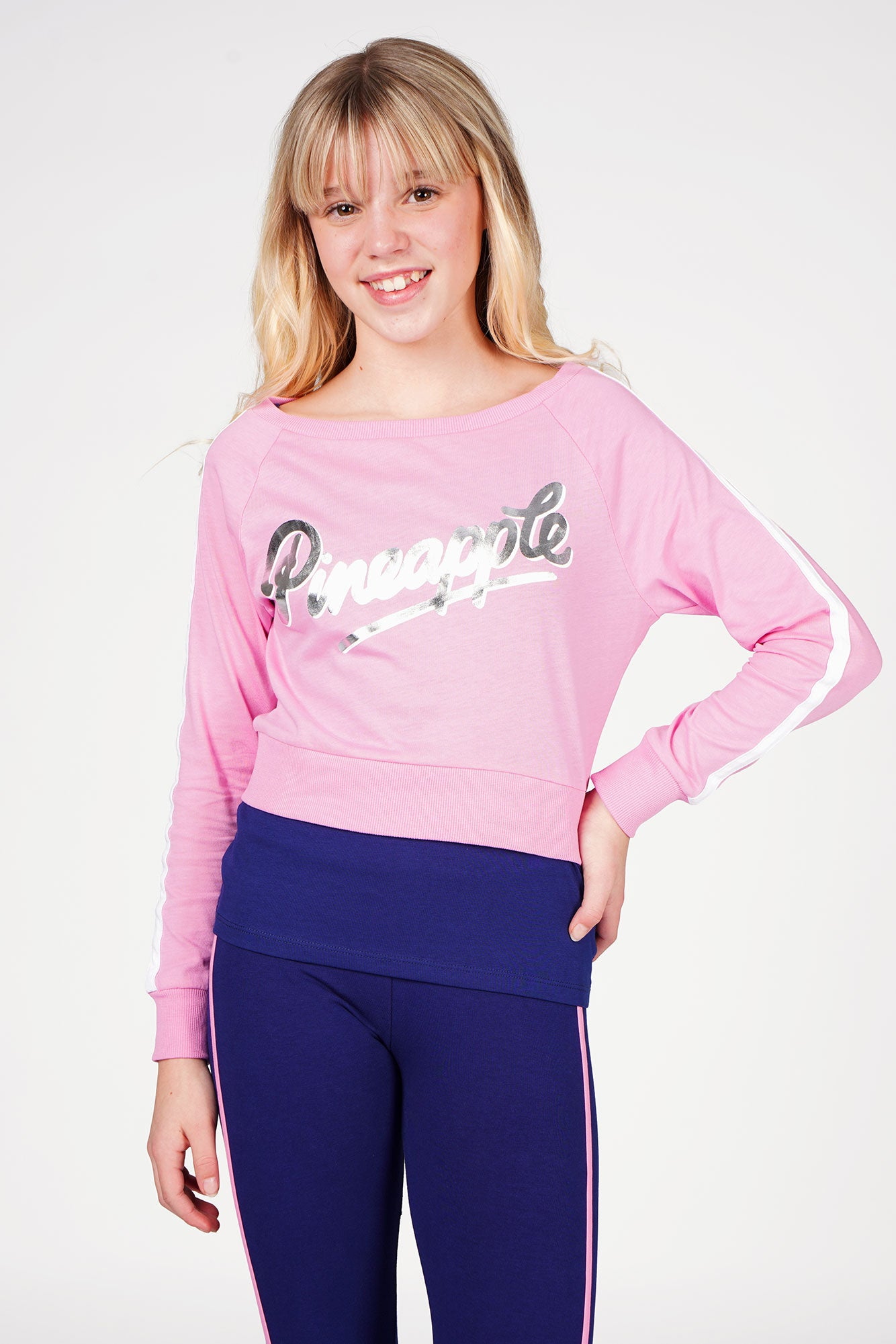 Girl wearing Pineapple Pink Long Sleeve Double Layer Set with Blue Piping Leggings
