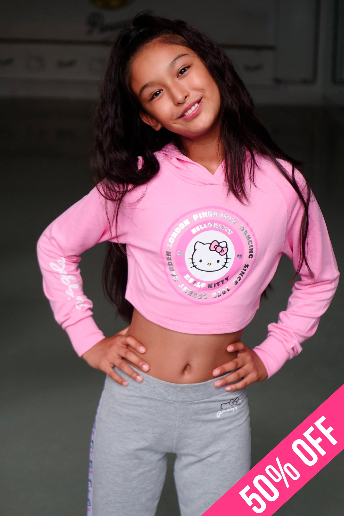 Pineapple Girls' Pink Hello Kitty Crop Hoodie